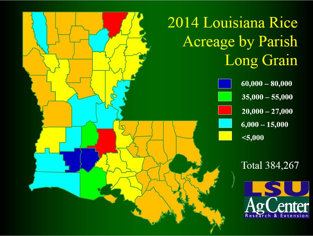 Rice Acreage Maps - Map of louisiana parishes