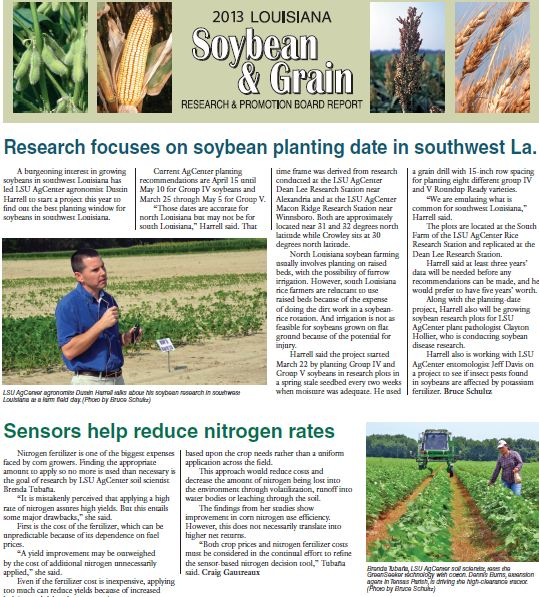 Please click here for the PDF version of the 2013 Soybean & Grain Research & Promotion Board Report.