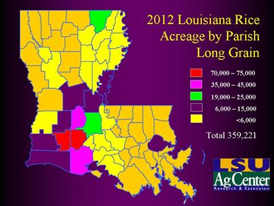 Please click here for the PDF version of the Louisiana map showing distribution of long-grain rice by parish in 2012.