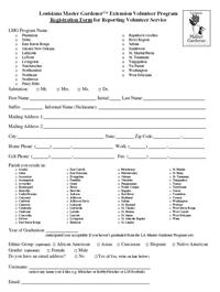 Registration Form for Reporting Volunteer Service