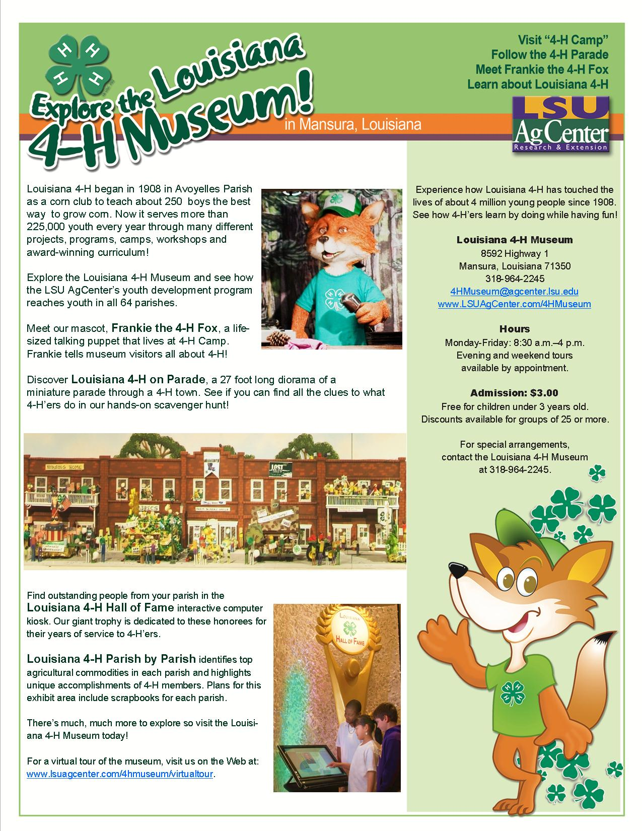 Louisiana 4-H Museum Flyer
