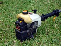 small power tools  like this trimmer  run on 2 stroke engines  which offer