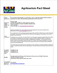 Agritourism Fact Sheet for Entrepreneurs
