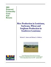 2013 Projected Rice Production Costs