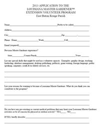 2013 LMG Volunteer Program Application, East Baton Rouge Parish