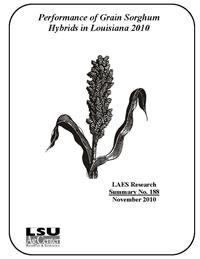 Performance of Grain Sorghum Hybrids in Louisiana 2010