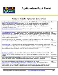 Resource Guide for Agritourism Entrepreneurs