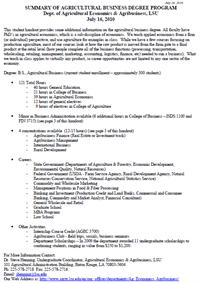 Agricultural Business Degree Program Student Handout