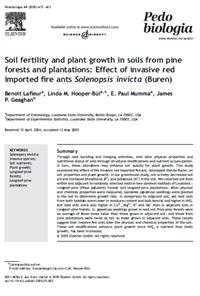 Soil fertility and plant growth in soils from pine forests and plantations: Effect of invasive red imported fire ants Solenopsis invicta (Buren)