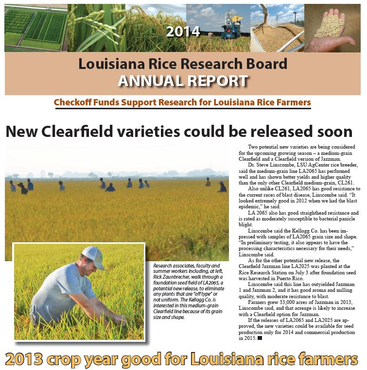 Please click here for the PDF version of the 2014 Louisiana Rice Research Board Annual Report.