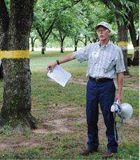Researcher Randy Sanderlin at the Pecan Research-Extension