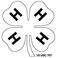 Black and white 4-H emblem