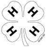 Fuzzy white and black 4-H emblem