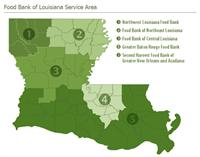 Lousiana food bank service area