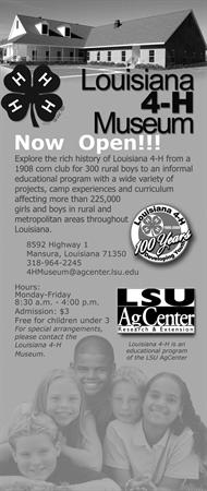 La. 4-H Museum--Verical Ad--Black & White