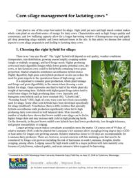 Corn silage management