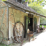 The outside of the blacksmith shop at the LSU Rural Life Museum at Burden