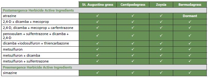 Table that shows the postemergence and preemergence herbicide active ingredients for bermudagrass, centipedgrass, st. augustine grass, and zoysia.
