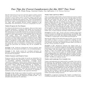 Tax Tips for Forest Landowners 2017