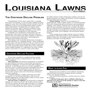 Louisiana Lawns Fact Sheet:  The Centipede Decline Problem