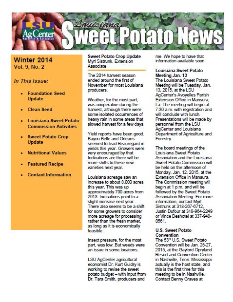Louisiana Sweet Potato News