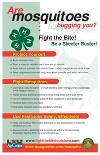 Please click here for the LSU AgCenter poster, Are Mosquitoes Bugging You?