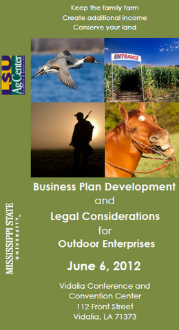 Business Plan Development and Legal Considerations for Outdoor Enterprises brochure.