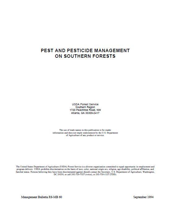 Click image for PDF of Pest and Pest Management on Southern Forests Manual
