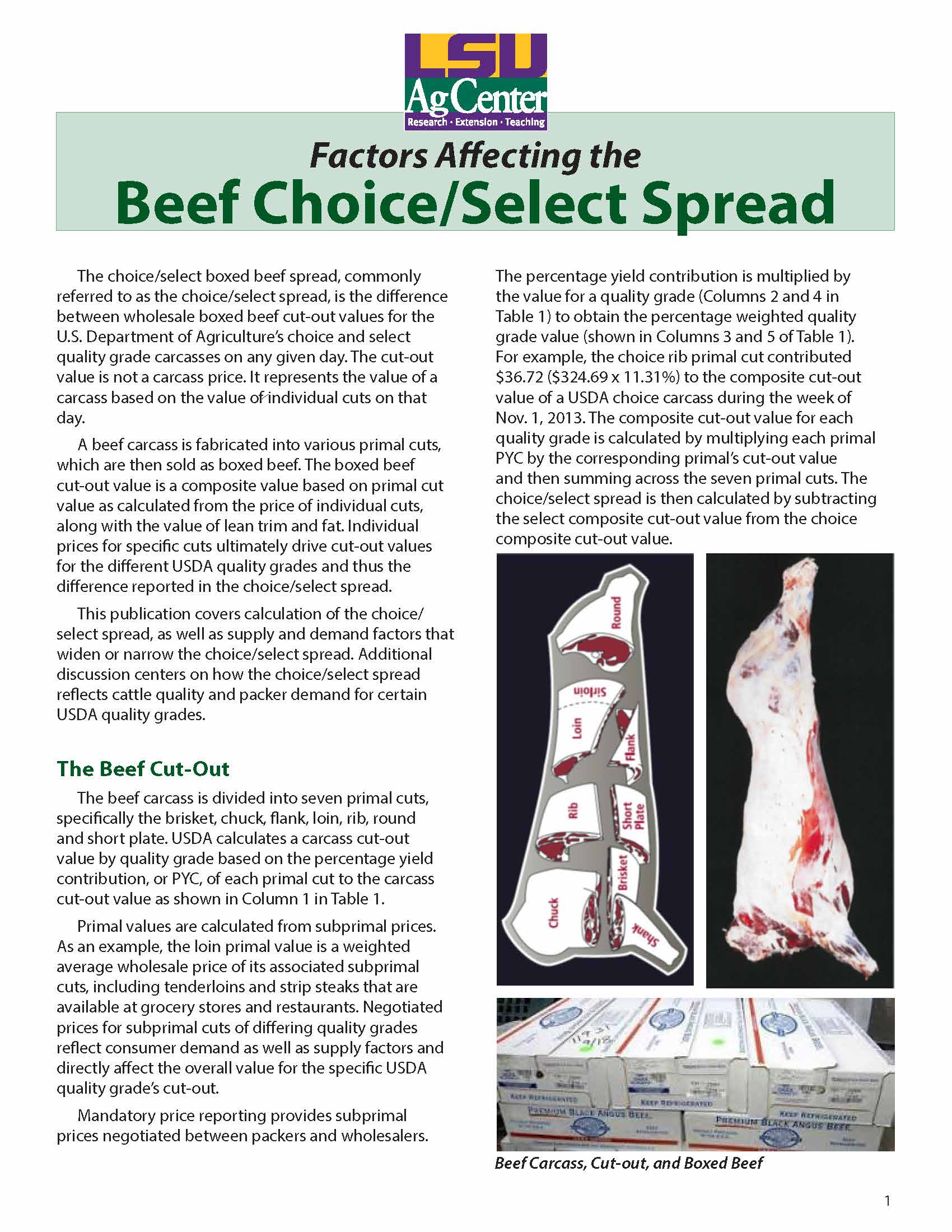 Factors Affecting the Beef Choice/Select Spread