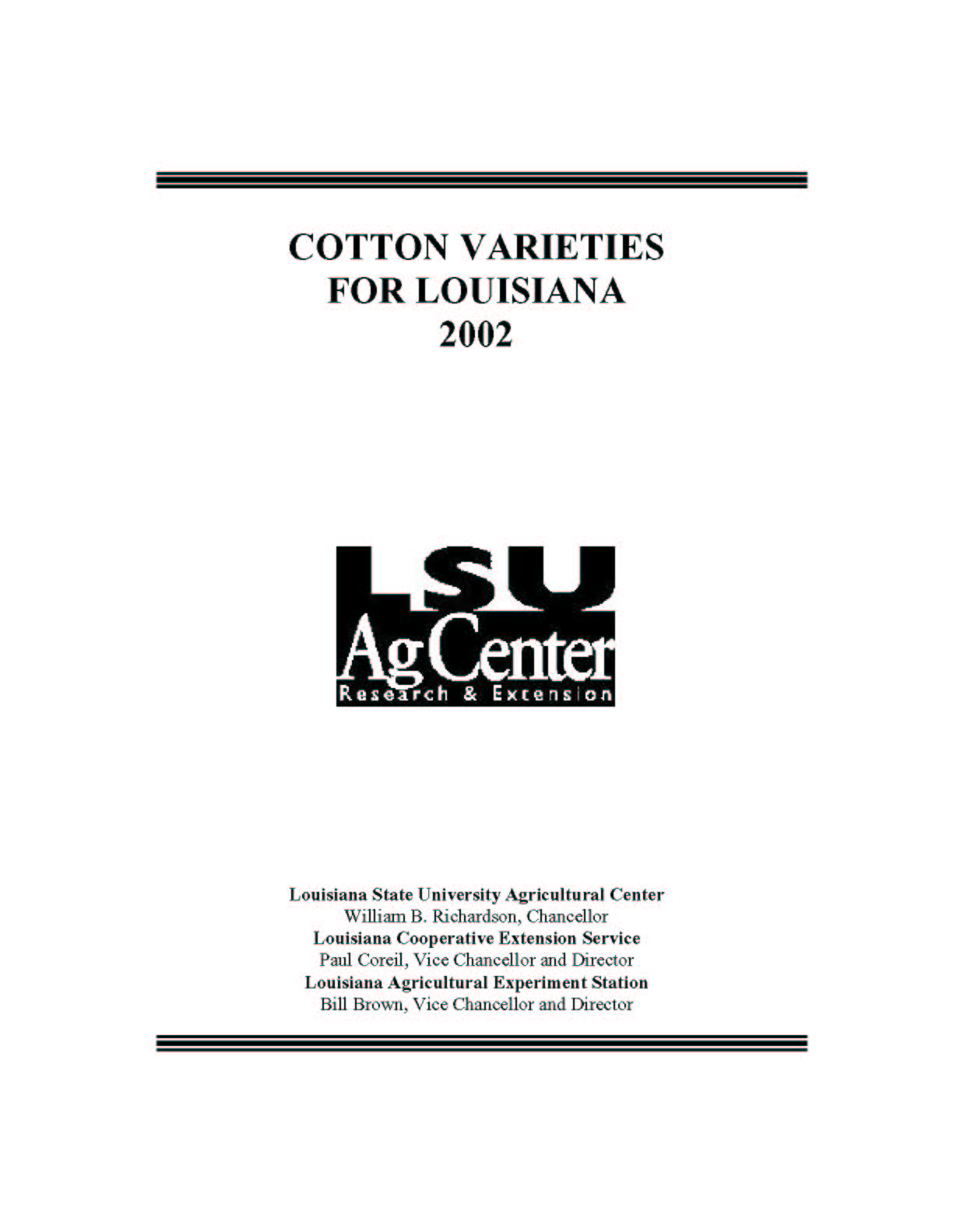 2002 Cotton Varieties for Louisiana