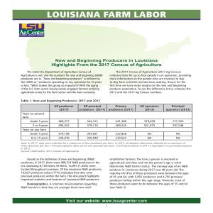Louisiana Farm Labor -- New and Beginning Producers in Louisiana: Highlights From the 2017 Census of Agriculture