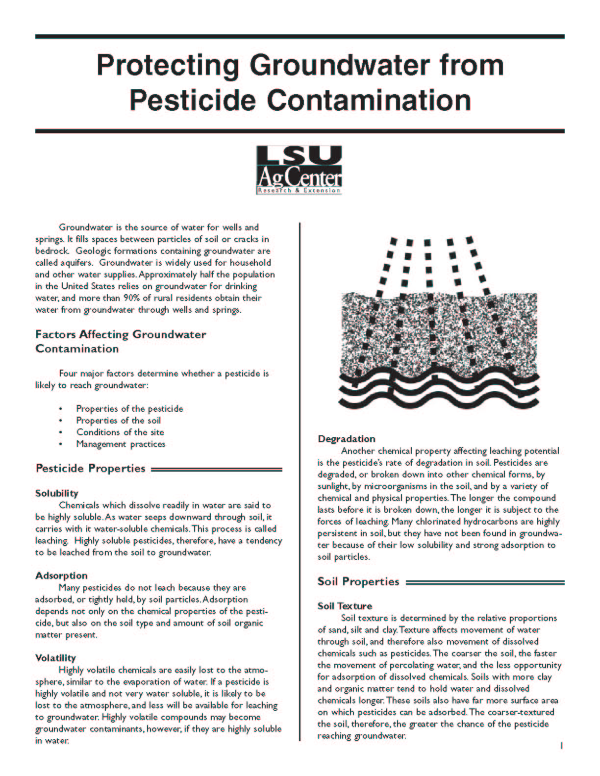 Protecting Groundwater from Pesticide Contamination