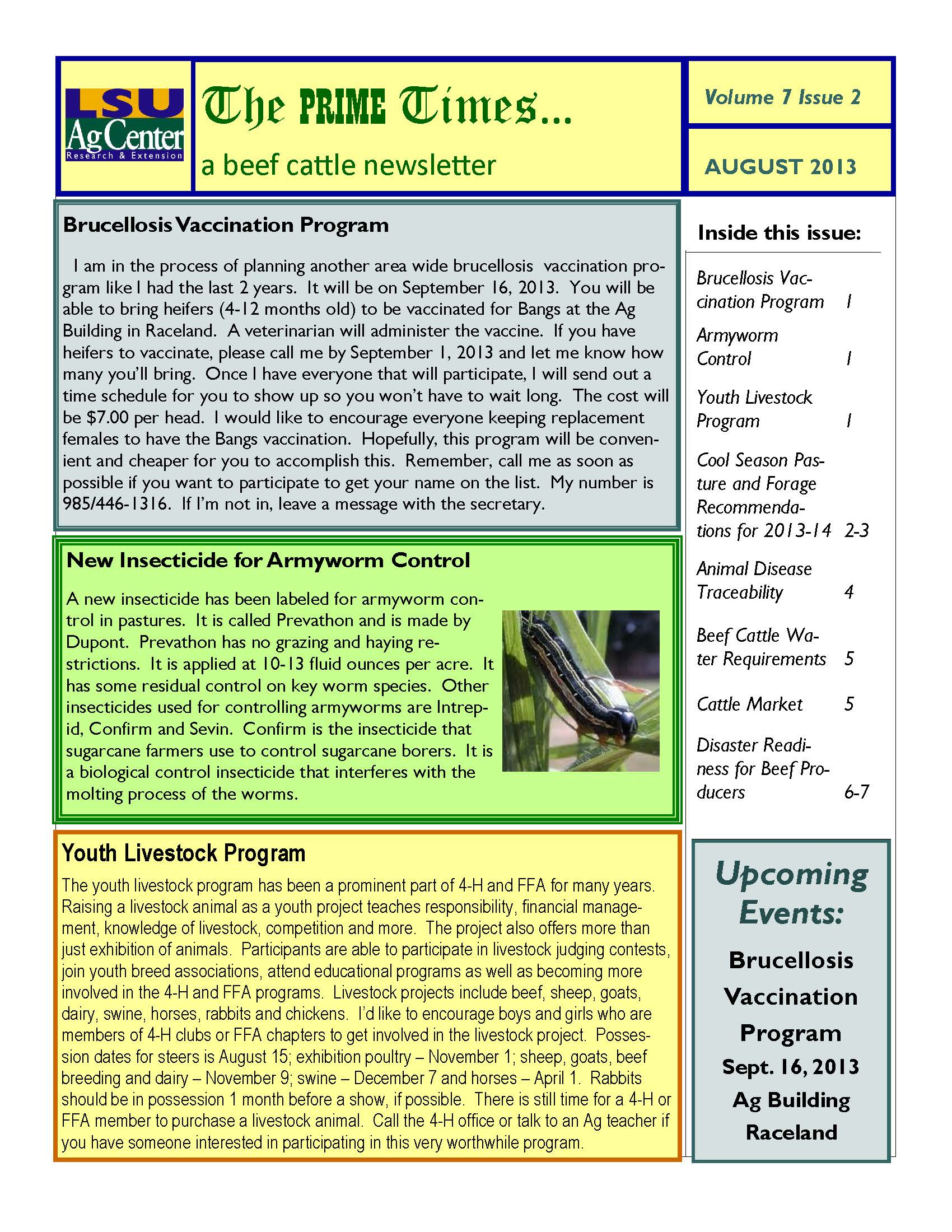 August 2013 Beef Cattle Newsletter