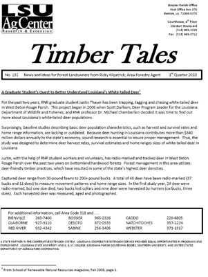 Timber Tales First Quarter 2010