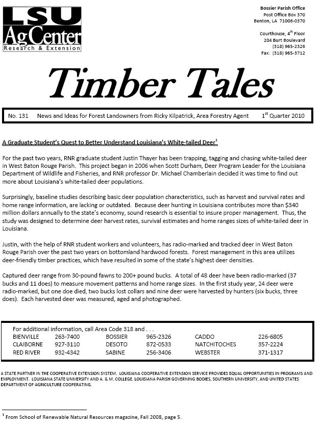2010 Timber Tales Newsletters