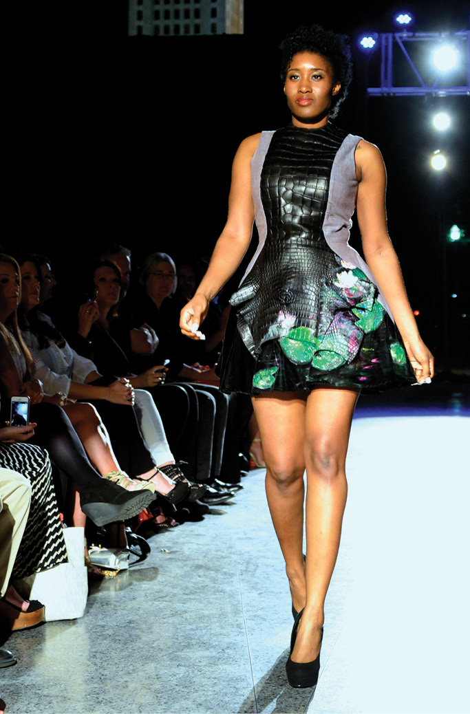 Photo of student walking the runway