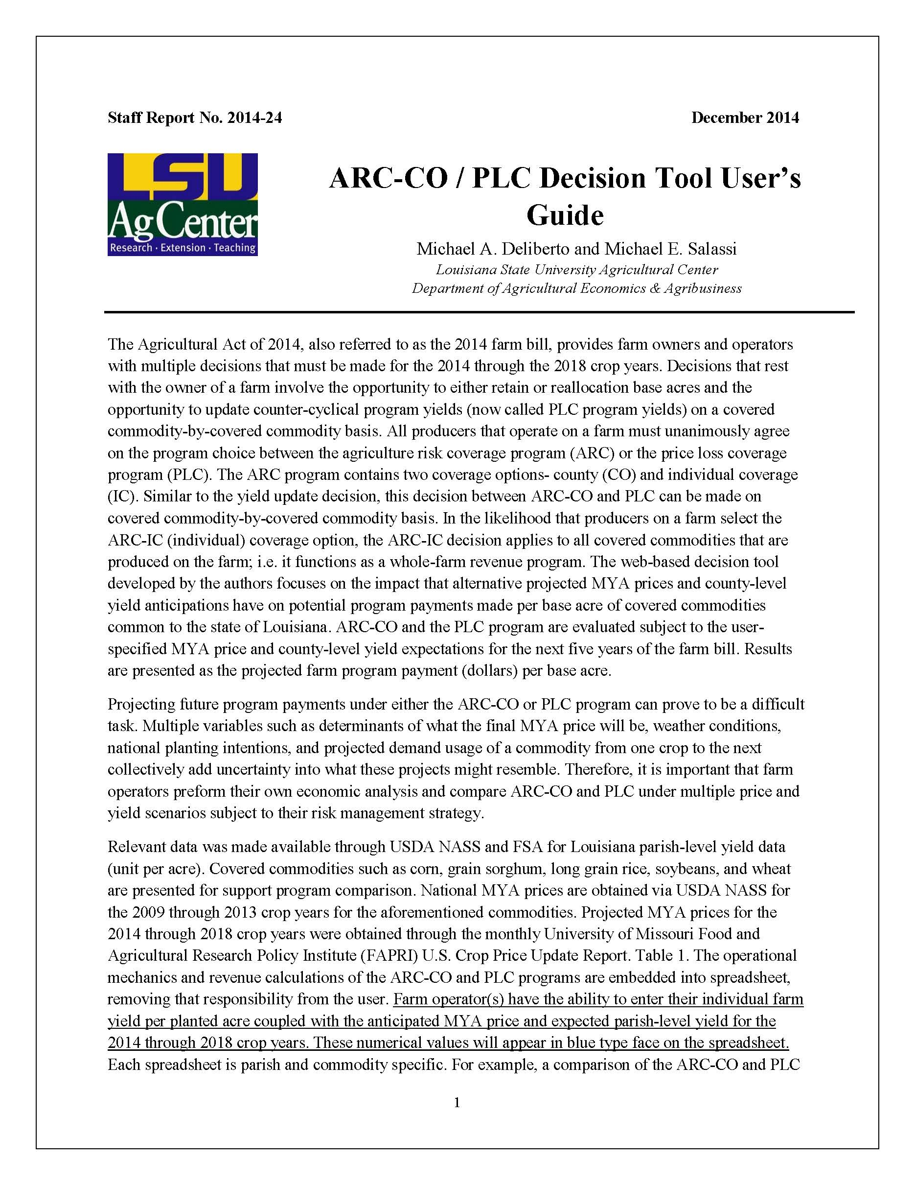 ARC-CO / PLC Decision Tool Users Guide