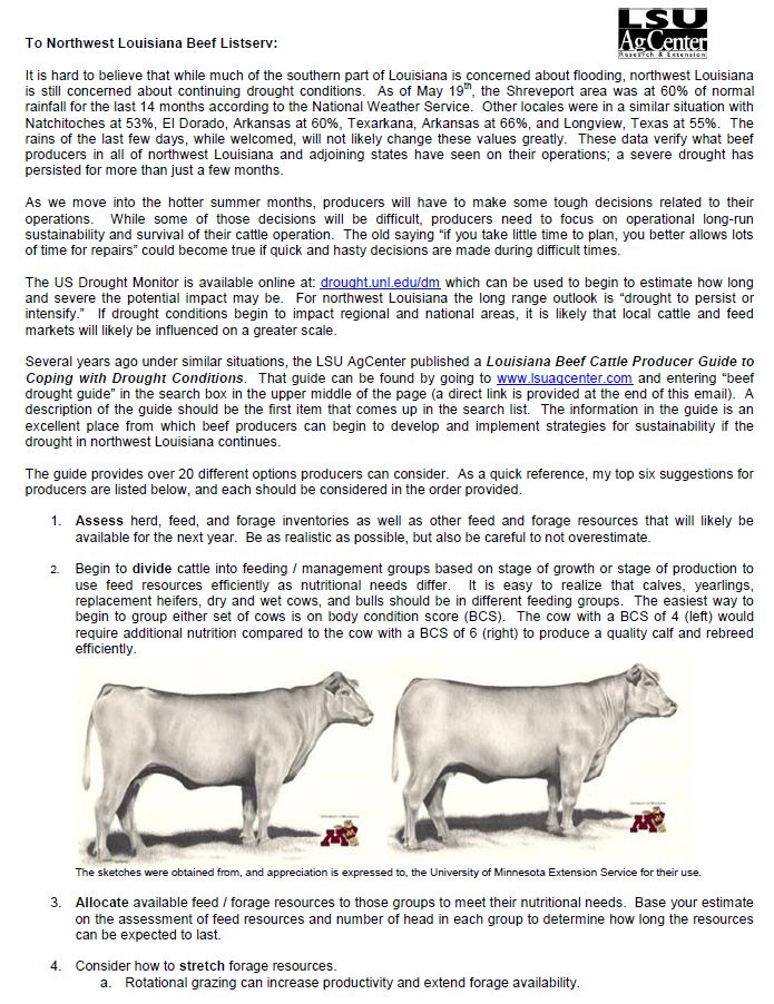 Northwest Louisiana Beef Cattle Newsletter