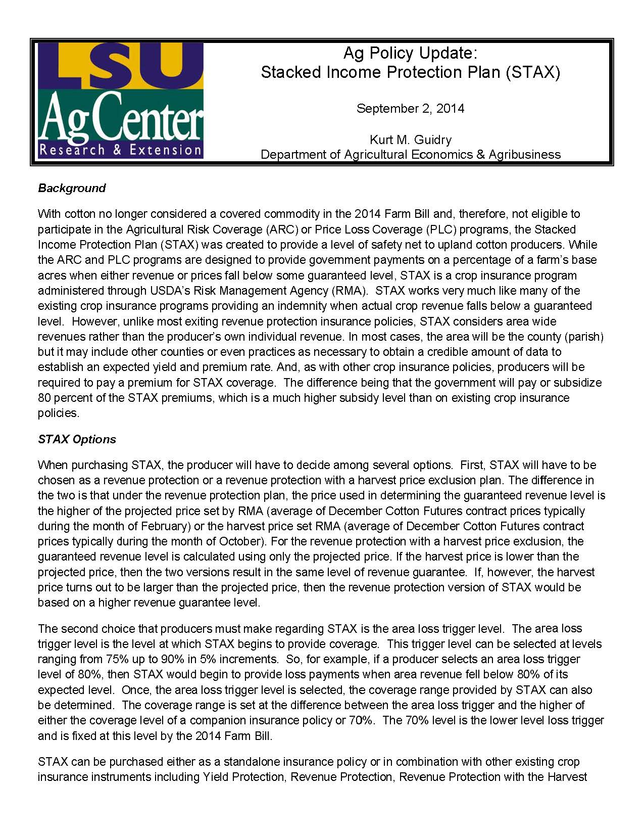 Ag Policy Update: Stacked Income Protection Plan (STAX)