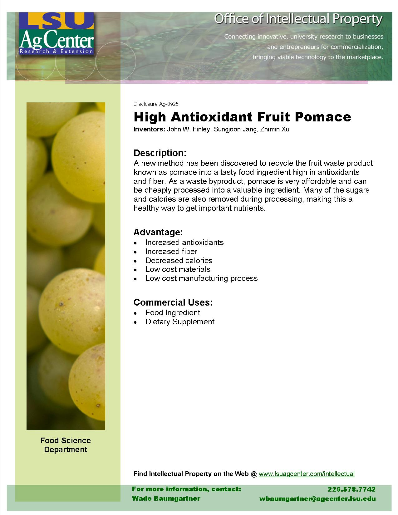 High Antioxidant Fruit Pomace