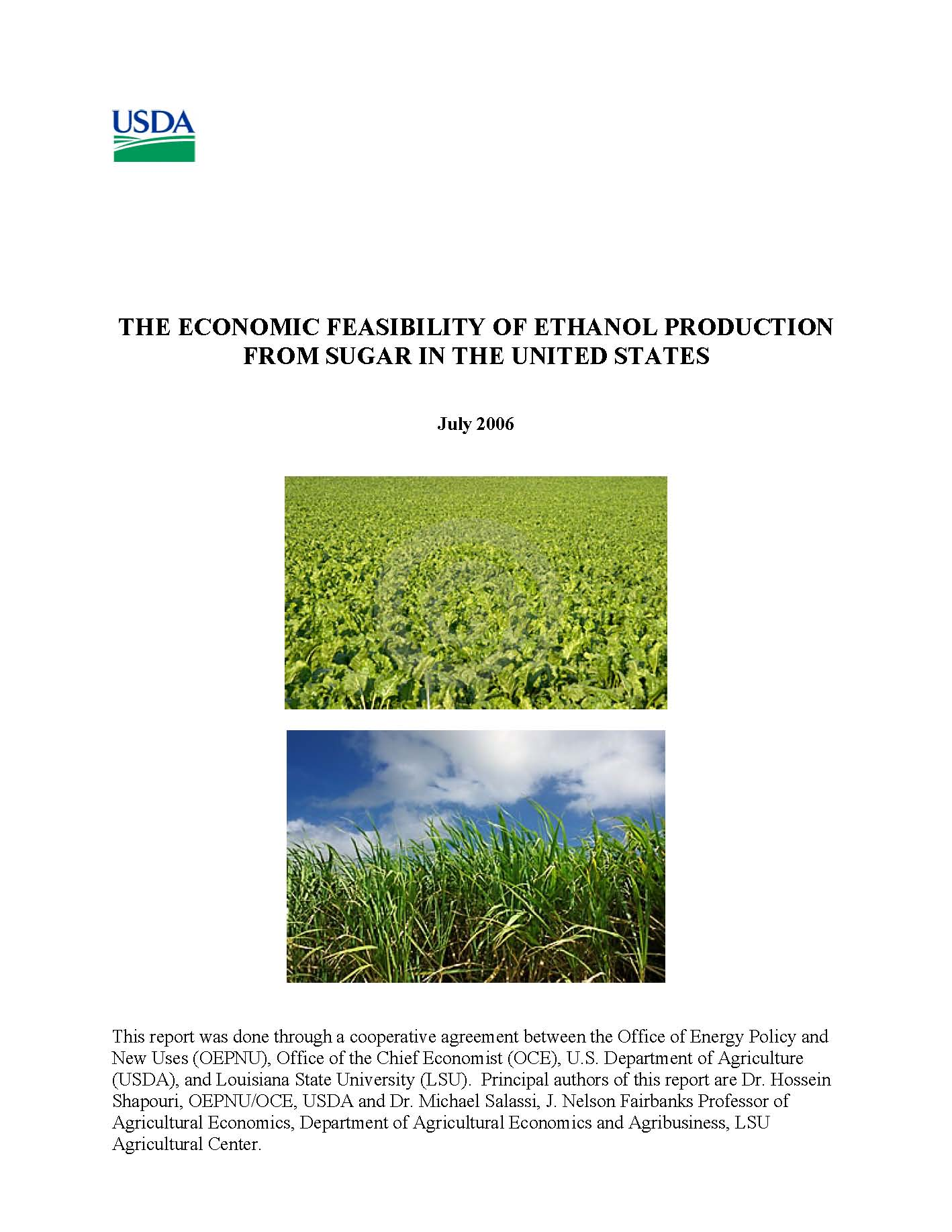 Economic Feasibility of Ethanol Production from Sugar in the United States