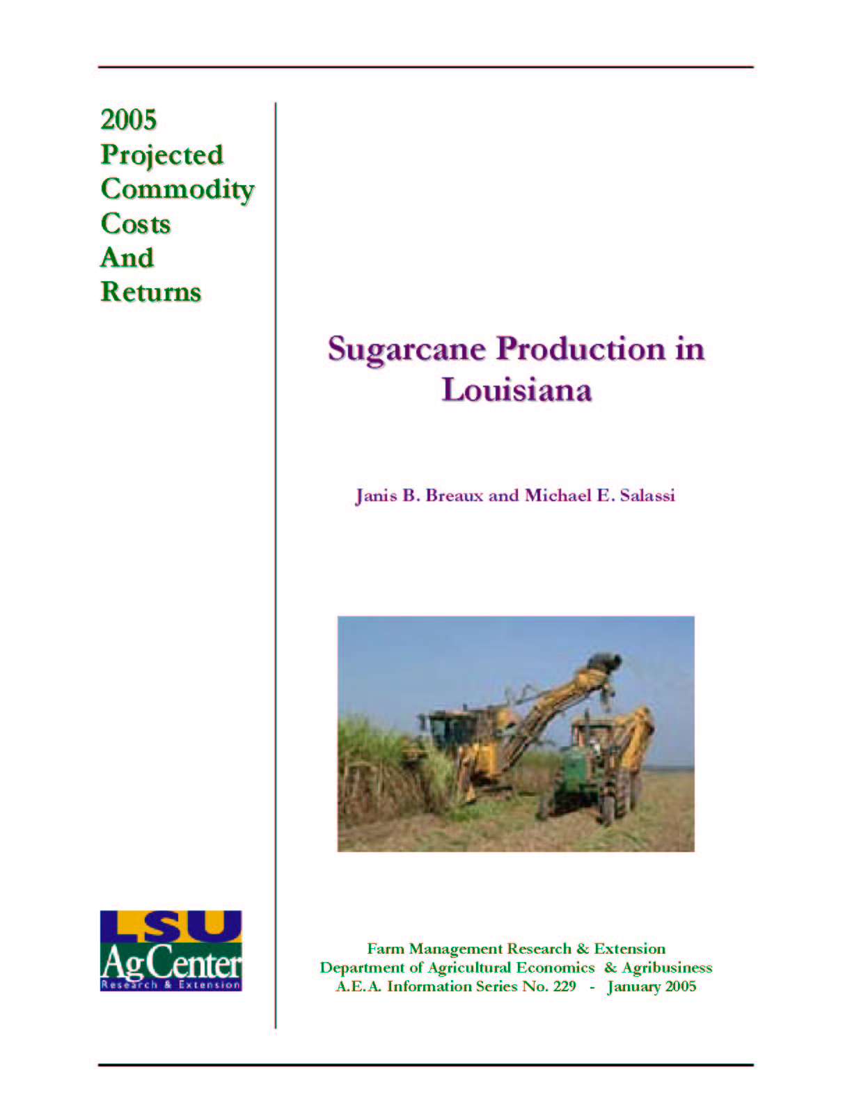 2005 Projected Louisiana Sugarcane Production Costs