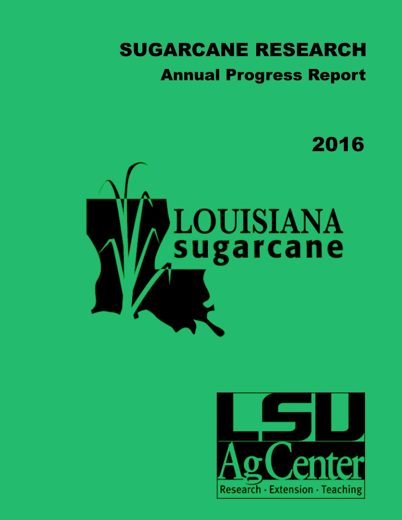 2016 Sugarcane Annual Progress Report