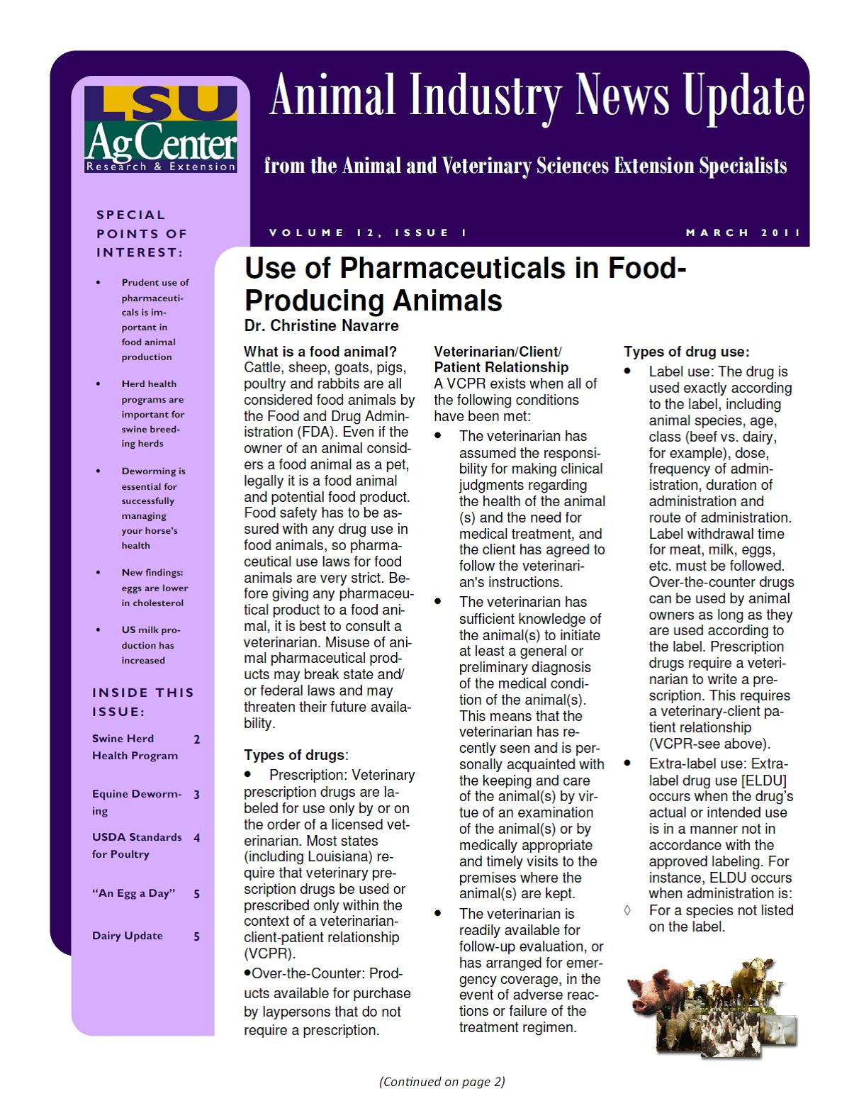 Animal Industry News Update March 2011 Vol 12; Issue 1