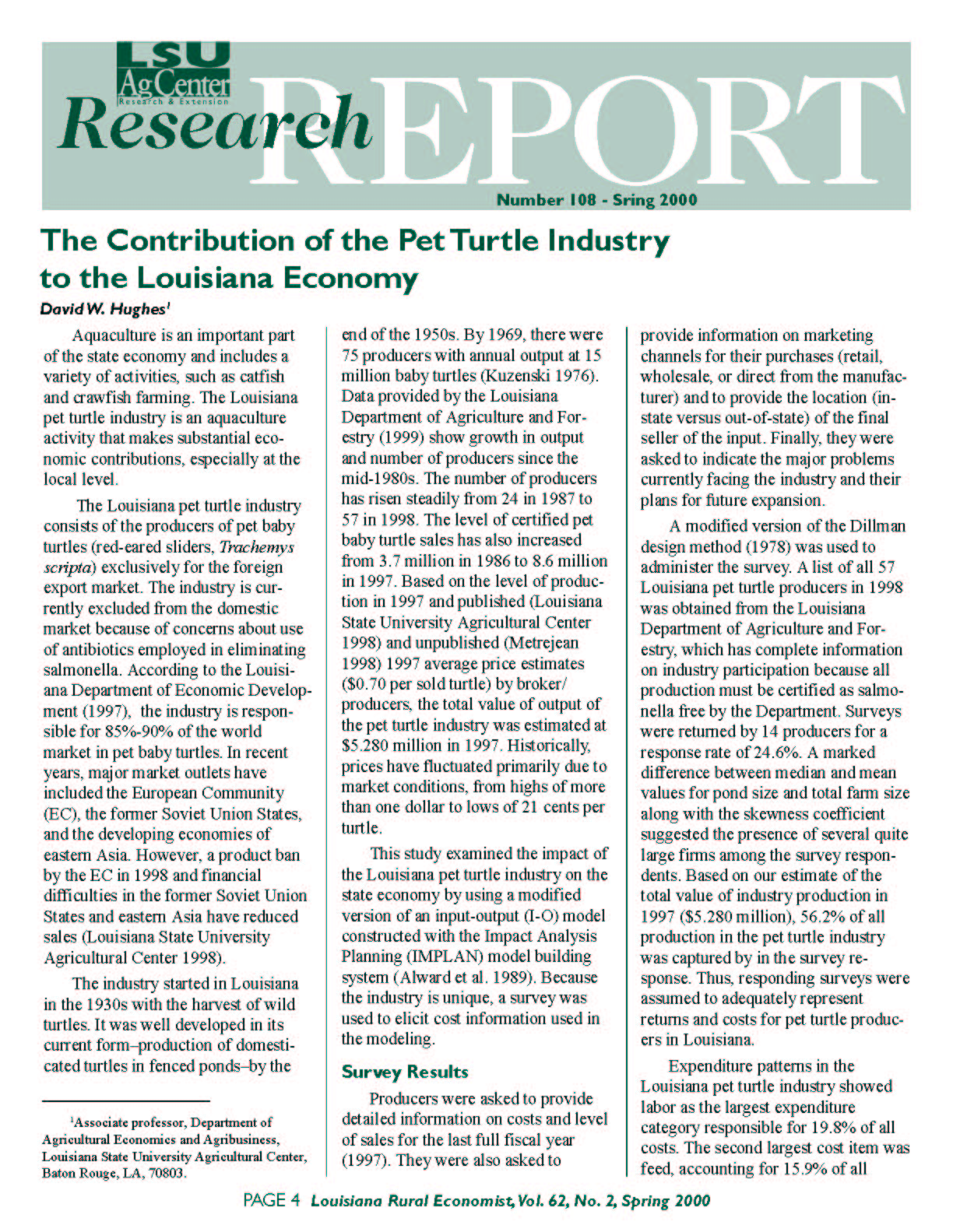 The Contribution of the Pet Turtle Industry to the Louisiana Economy (Spring 2000)