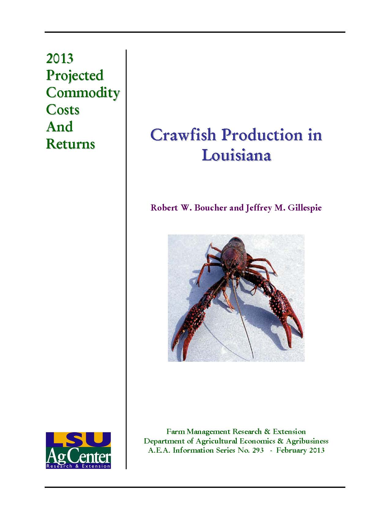 Projected Costs and Returns for Crawfish Production in Louisiana 2013