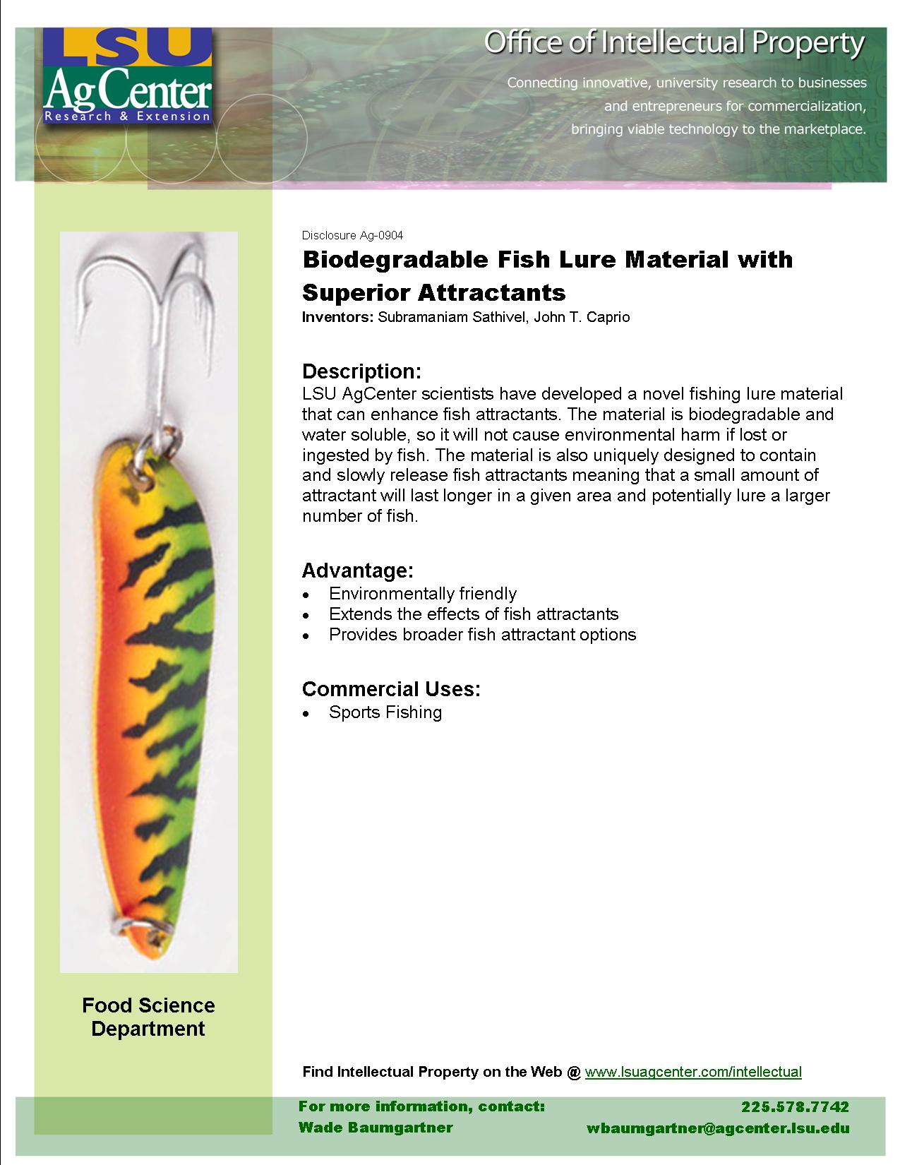 Biodegradable Fish Lure Material with Superior Attractants
