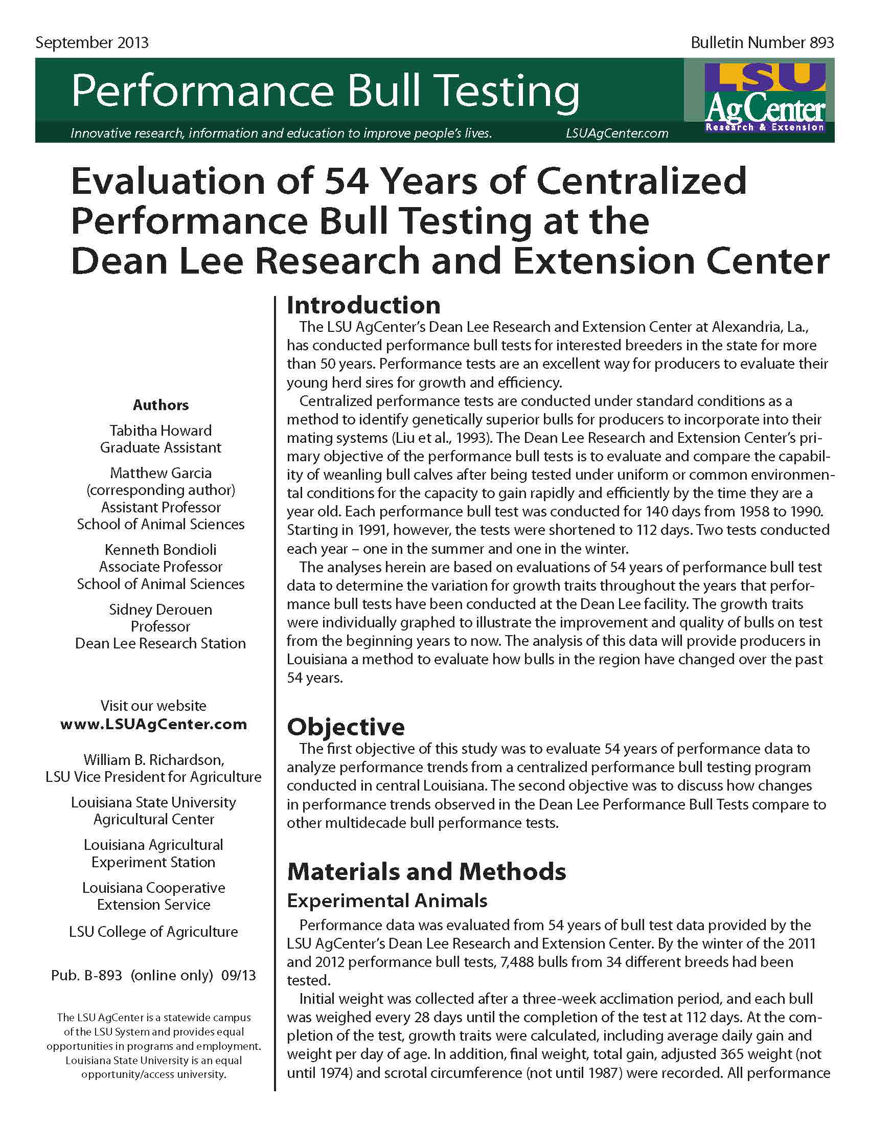 Evaluation of 54 Years of Centralized Performance Bull Testing at the Dean Lee Research and Extension Center