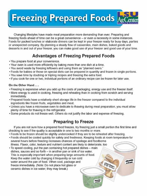 Freezing Prepared Foods
