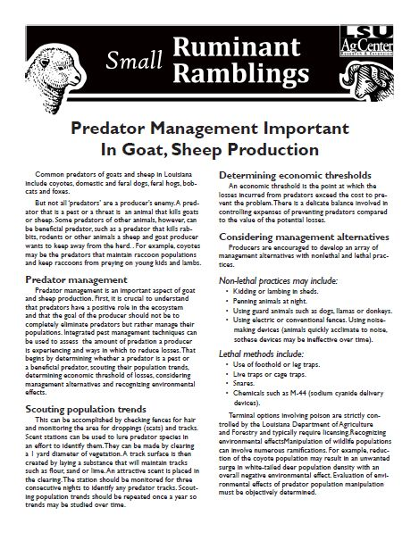 Predator Management in Sheep and Goats